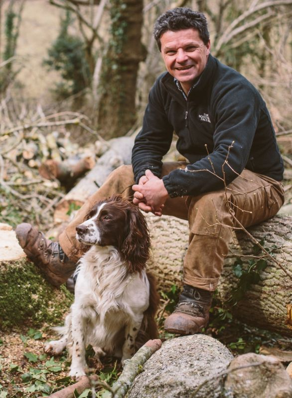 Rob Penn with springer spaniel