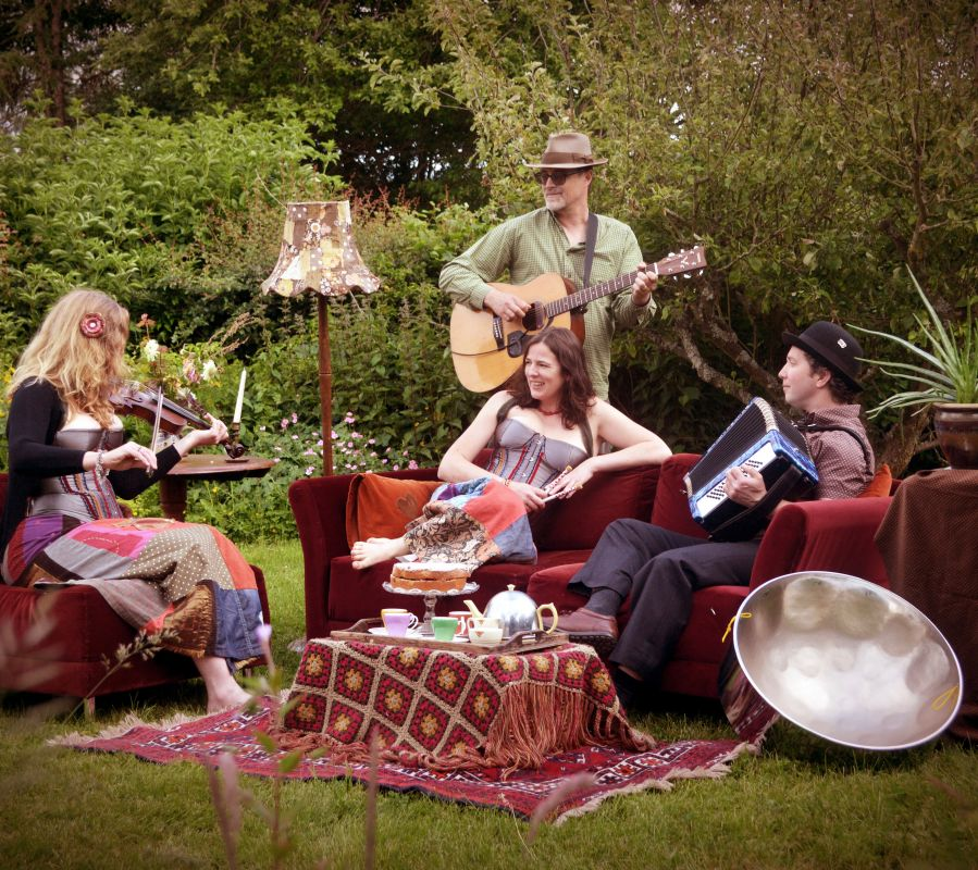 Garden tea party with Slippery Slope - all very genteel